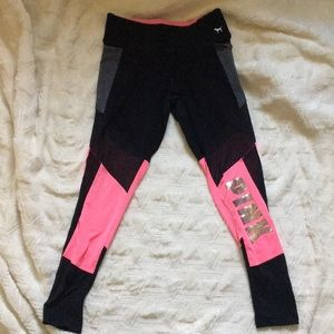 PINK Victoria secret black pink leggings sz medium